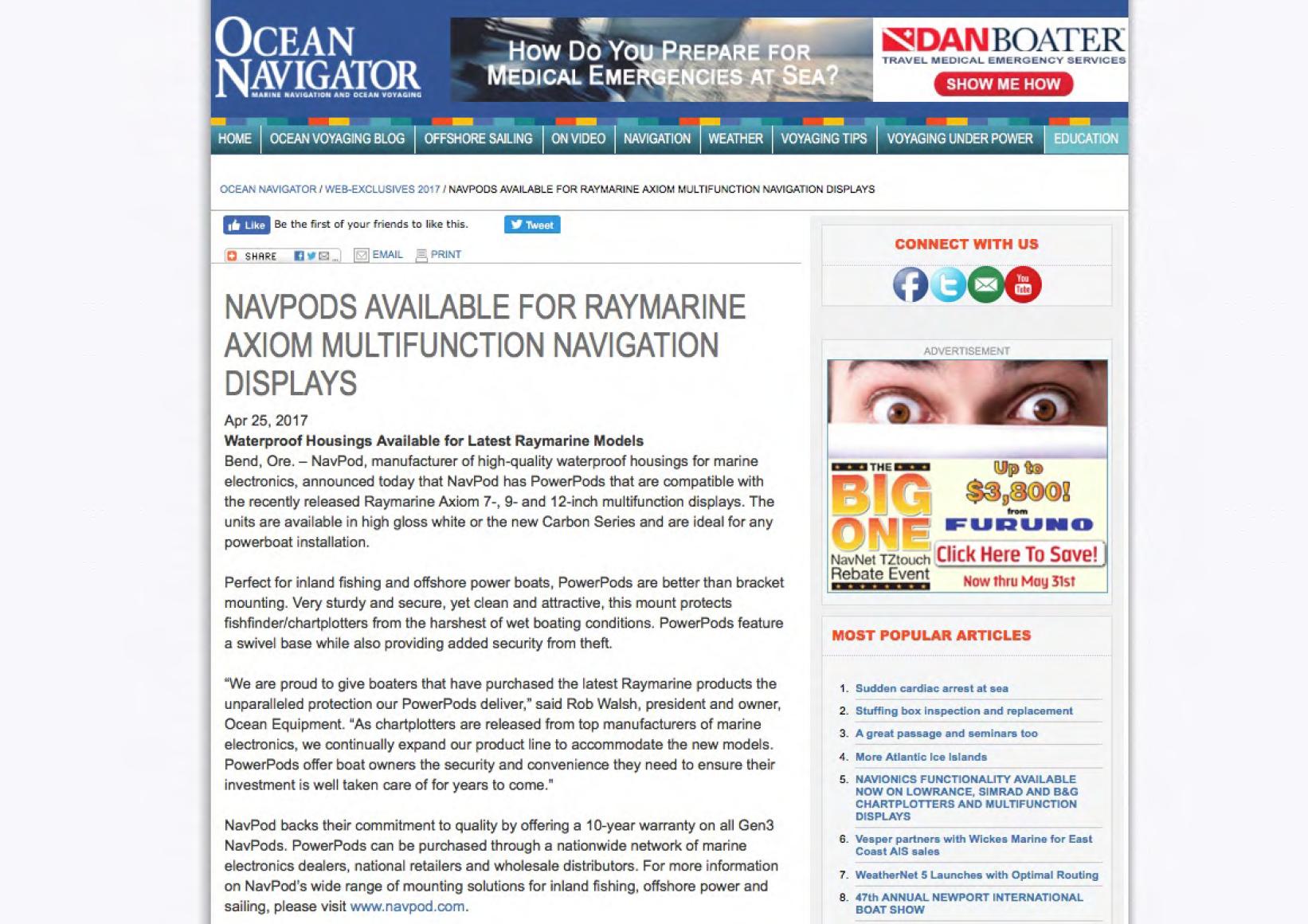 Magazine Editorials Navpod Standard Boat Wiring Diagram Bass April 2017 Ocean Navigator Available For Garmin 25000